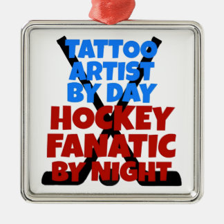 Artiste de tatouage d'amant d'hockey ornement carré argenté