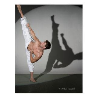 Artiste martial masculin exécutant le carte postale