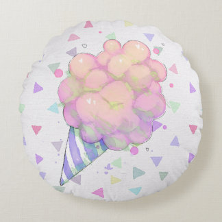 Artistic watercolor candy coussin rond