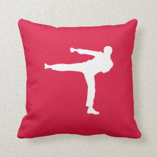 Arts martiaux de rouge cramoisi oreillers
