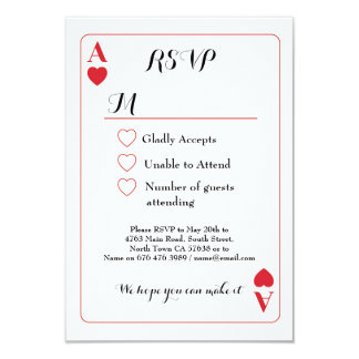 As de carte de jeu de mariage de RSVP des
