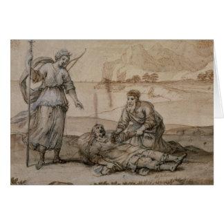 Asclepius rétablissant Hippolytus (stylo et encre, Carte De Vœux