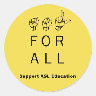 ASL pour entièrement des autocollants d'éducation
