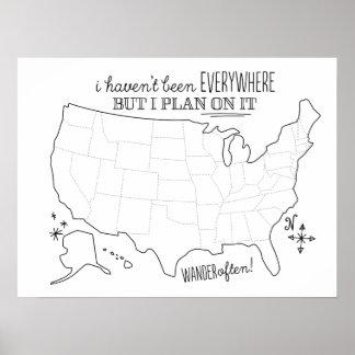 Aspiration sur la carte américaine de voyage - affiche