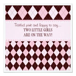 Assez dans le baby shower jumeau à motifs de carton d'invitation  13,33 cm