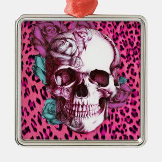 Assez dans le punk, le léopard de rose choquant et ornement carré argenté