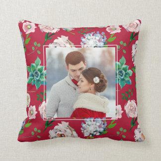 Assez floral avec le coussin de photo de cadre