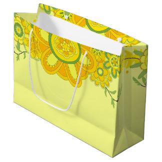 Assez le jaune fleurit la frontière de pièce grand sac cadeau