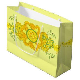 Assez le jaune fleurit la pièce maîtresse grand sac cadeau