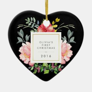 Assez le rose fleurit le premier Noël de Babys sur Ornement Cœur En Céramique