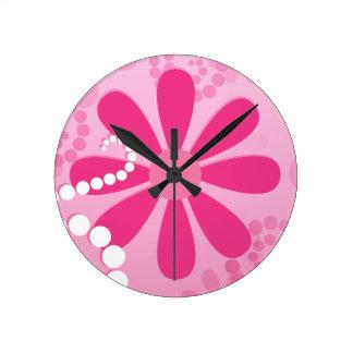 Assez le rose fleurit le rétro motif mignon de horloge ronde
