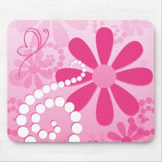 Assez le rose fleurit le rétro motif mignon de tapis de souris