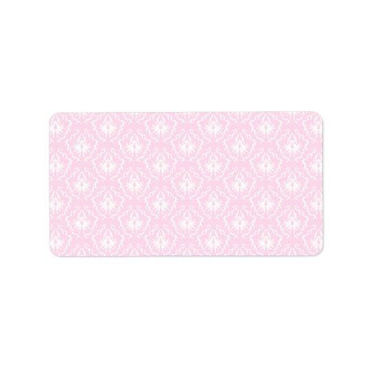 Assez pâle - motif rose de damassé avec le blanc étiquette d'adresse
