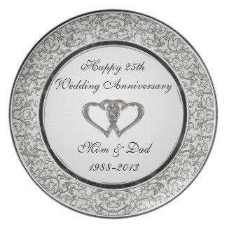 Assiette 25ème Plat de mélamine d'anniversaire de mariage
