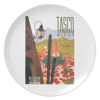 Assiette Affiche 1950 de voyage de Tasco Mexique