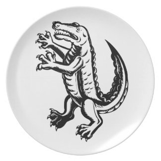 Assiette Alligator tenant Scraperboard