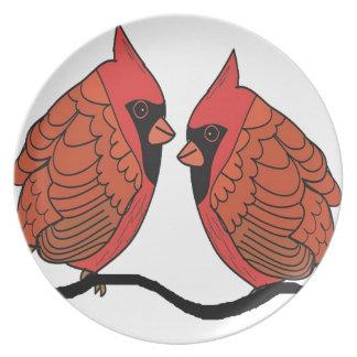 Assiette Amants cardinaux d'oiseau