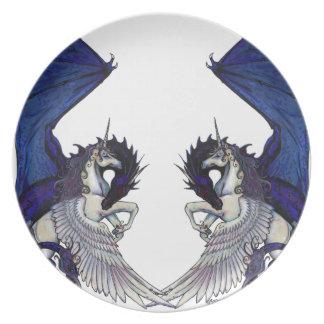 Assiette Amants de licorne et de mariage de dragon