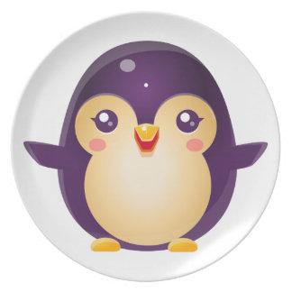 Assiette Animal de bébé de pingouin dans le style doux