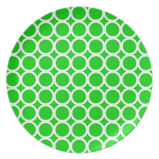 Assiette Anneaux blancs sur le vert lumineux d'été