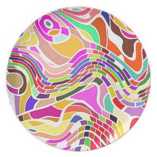 Assiette Art abstrait de mouvement dans des couleurs