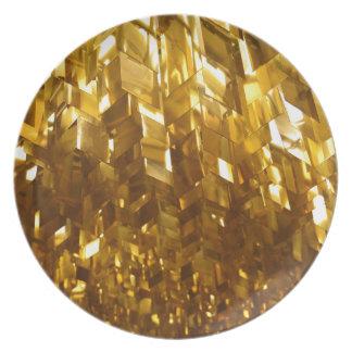 Assiette Art abstrait de plafond d'or