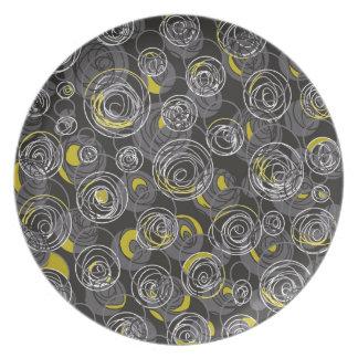 Assiette Art abstrait gris et jaune