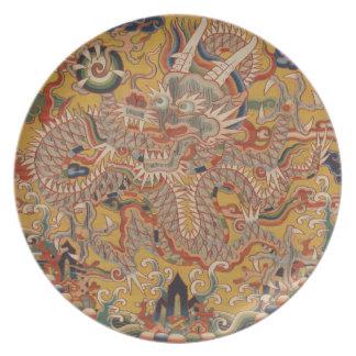 Assiette Art chinois asiatique impérial de dragon de Ming