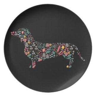 Assiette Art floral d'aquarelle de motif de chien de