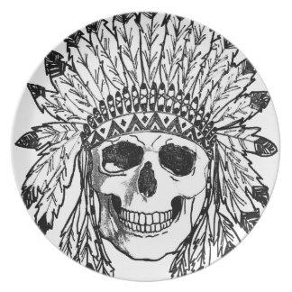 Assiette Art indigène de visage de crâne