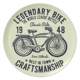 Assiette Art légendaire de vélo de bicyclette classique de
