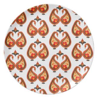 Assiette Automne Ikat terreux Paisley peint à la main