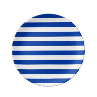 Assiette avec des bandes bleues assiettes en porcelaine