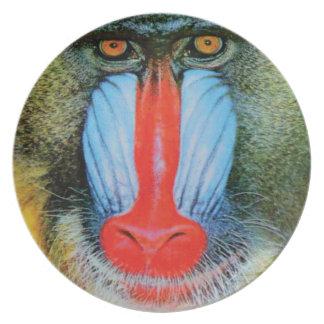 Assiette babouin flairé rouge
