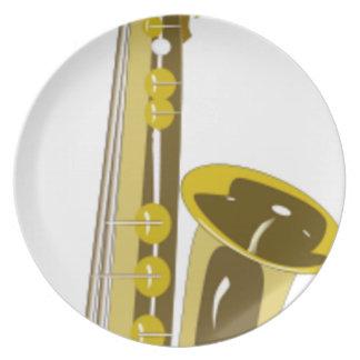 Assiette Bande dessinée de saxophone