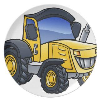 Assiette Bande dessinée de véhicule de tracteur