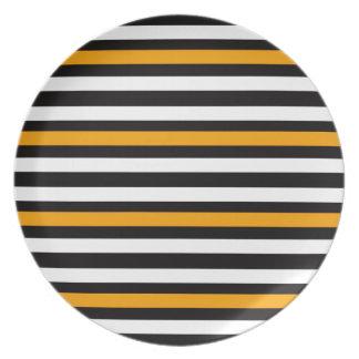 Assiette Blanc noir orange horizontal de rayures