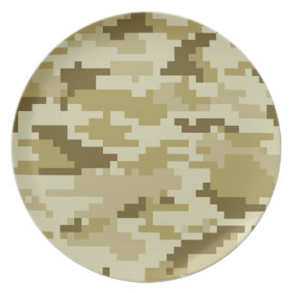 Assiette Camouflage/Camo de désert de pixel de 8 bits