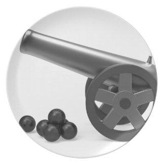 Assiette Canon avec les bombes noires