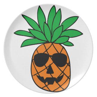 Assiette Caractère drôle d'ananas de citrouille de