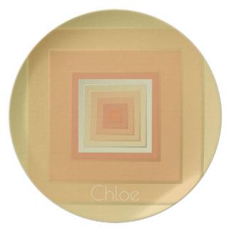 Assiette Carrés géométriques chics (jaunes doux et orange)