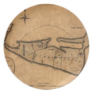 Assiette Carte de Nantucket 1782
