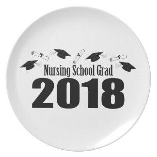 Assiette Casquettes du diplômé 2018 d'école d'infirmières