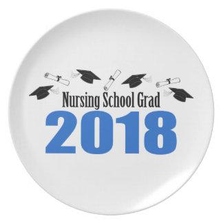 Assiette Casquettes et diplômes du diplômé 2018 d'école