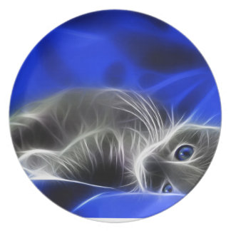 Assiette chat bleu