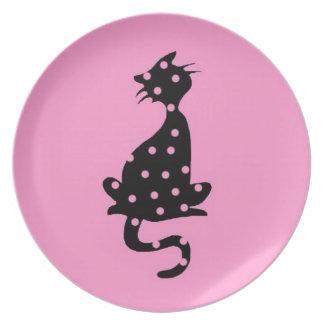 Assiette Chat croquis dessin humour noir rose pois
