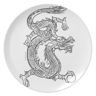 Assiette Chinois imaginaire oriental dragon de croquis de