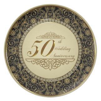 Assiette cinquantième Plat de mélamine d'anniversaire de