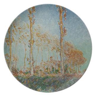 Assiette Claude Monet - l'illustration de peupliers