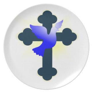 Assiette Colombe et croix